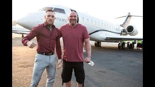 Conor McGregor touches down on LA in the private jet to start the first leg of the world tour for the McGregor vs Mayweather fightGet F.A.S.T. https://mcgregorfast.com/
