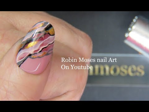 Nail art designs - Short Granite Nails  Faux Pink Marble Beginner Nail Art Design