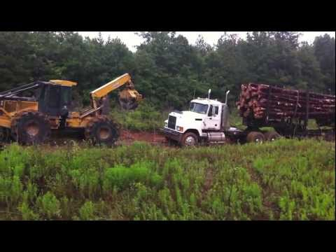 Skidder Dragging a Stuck Log Truck!