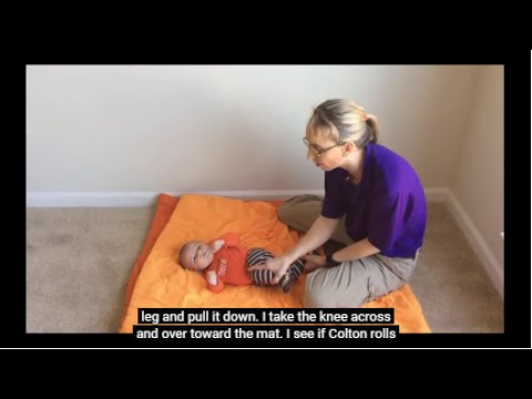Pediatric PT Strengthening for Babies with Microcephaly #6 Rolling Back to Side