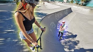 TEACHING MY GIRLFRIEND HOW TO SCOOTER!