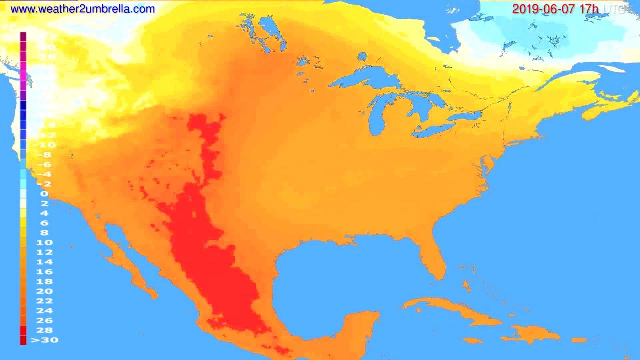 Temperature forecast USA & Canada // modelrun: 00h UTC 2019-06-06