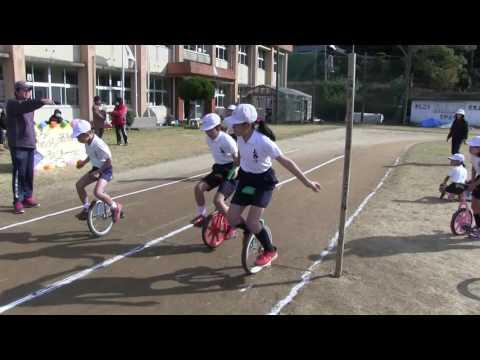 種子島の学校活動:上西小学校一輪車リレーマラソン大会2017年