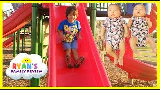 Ryan Twin Sisters First Time Outside! Playground for Kids Family Fun Playing at the Park