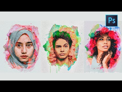 [ Photoshop Tutorial ] WATERCOLOR  EFFECT POTRAIT - Photo Manipulation Photoshop CC 2018