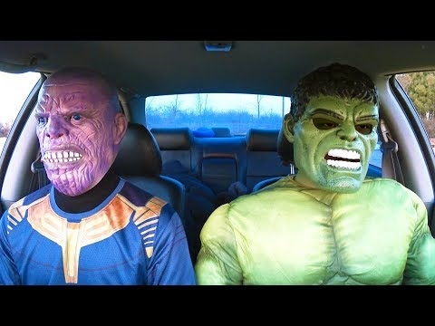 Funny movies - Superheroes Dancing in Car  Hulk & Thanos  Funny Movie in Real Life