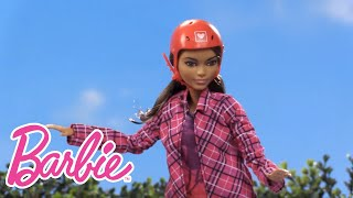 Barbie® knows that you can be anything you want -- and she wants her little sister Chelsea™ to know that, too! So when she and her friends go to the career fair, they bring their younger sisters along to explore it all. When they roll into the Made to Move™ skateboarder doll's booth, they find a breath of fresh air. This amazing doll performs wheelies, ollies and slides. Chelsea™ doll can't wait to give it a try. Fitted with the skateboarder doll's helmet and knee pads, she catches some air of her own! See her amazing skateboarding moves in this cool video. What else can you be? Check out the other booths at the Barbie® career fair in the video series and know that you can be anything you want, too!The dolls and play set included in this video are:Barbie® Fashionistas™ DollChelsea™ DollBarbie® Made to Move™ Skateboarder DollWatch more Barbie Careers videos: http://po.st/BarbieCareerDollsSUBSCRIBE: http://bit.ly/BarbieSubAbout Barbie:For over 57 years, Barbie has led girls on a path to self-discovery and helped them to imagine the possibilities. After over 180 inspirational careers, Barbie—along with her friends and family—continues to inspire and encourage the next generation of girls that they can be anything. Connect with Barbie Online:Visit the official Barbie WEBSITE: http://bit.ly/BarbieWebsiteLike Barbie on FACEBOOK: http://po.st/Barbie_FBFollow Barbie on TWITTER: http://po.st/Barbie_TwitterFollow Barbie on INSTAGRAM: http://po.st/Barbie_InstagramChelsea Doll Learns About Being a Skateboarder  Barbie Careers   Barbiehttps://www.youtube.com/user/barbie