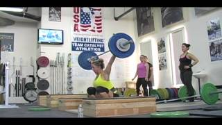 Weightlifting training footage of Catalyst weightlifters. Steve front squat, Aimee block snatch, Steve power clean, Chyna snatch, Alyssa clean and jerk, Eastman snatch, Dawn snatch, Dave clean pull, Chyna clean and jerk. - Weight lifting, Olympic, weightlifti