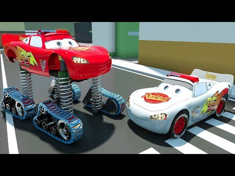Monster Machine Mcqueen Change Tire | Learn Colors Upgrade Street Vehicles Assembly