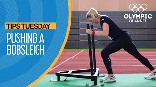 """Whether training for the winter season, or just adding a new workout routine to your gym, learn how to push a workout-sleigh with Olympic bronze medallist Jamie Greubel-Poser. Learn how to improve your game from the best athletes in the world with """"Olympians' Tips"""": http://bit.do/HowToENSubscribe to the Olympic Channel here: http://bit.ly/1dn6AV5"""