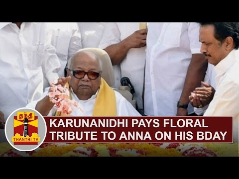DMK-Chief-Karunanidhi-pays-floral-tribute-to-Arignar-Anna-on-his-108th-Birthday-Thanthi-TV