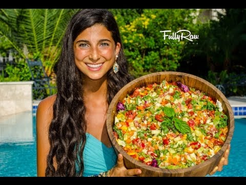 hummus - Mediterranean Salad with FullyRaw Hummus! Celebrate culture, family, life, passion, and raw food, and share this colorful salad with your family and friends!...
