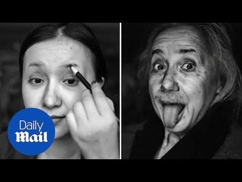 Κοπέλα μεταμορφώθηκε σε Αϊνστάιν μόνο με μακιγιάζ