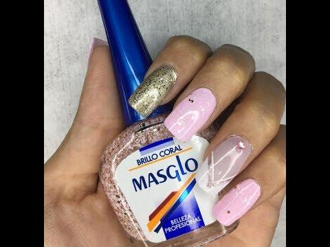 Uñas decoradas - Paso a paso de como realizar un decorado de uñas en tonos rosado y dorado con brillos. OLNAIL