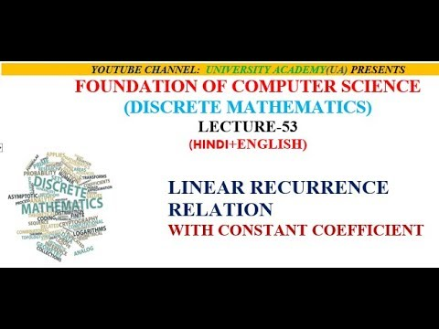LINEAR RECURRENCE RELATION  WITH CONSTANT COEFFICIENT
