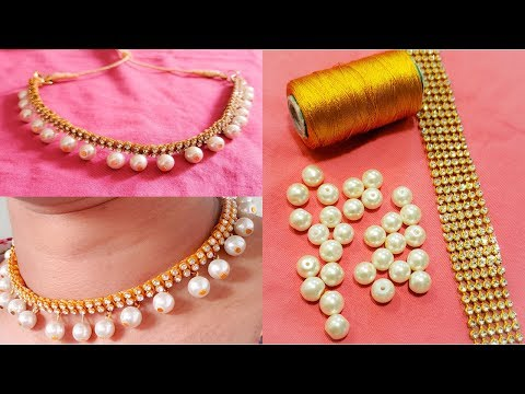 DIY || How to Make 2- Line Stone Choker Style Necklace at Home || Silk Thread Necklace Tutorial !!!