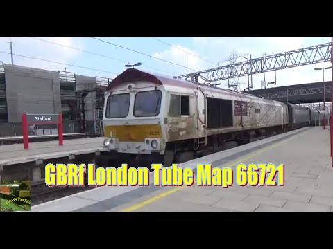 GBRf London Tube Map 66721 Rushes Through Stafford with a BioMass Train 9/4/15