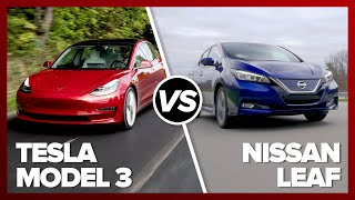 Tesla Model 3 vs. Nissan Leaf: Can the little Leaf shake Elon Musk fanatics? by Roadshow