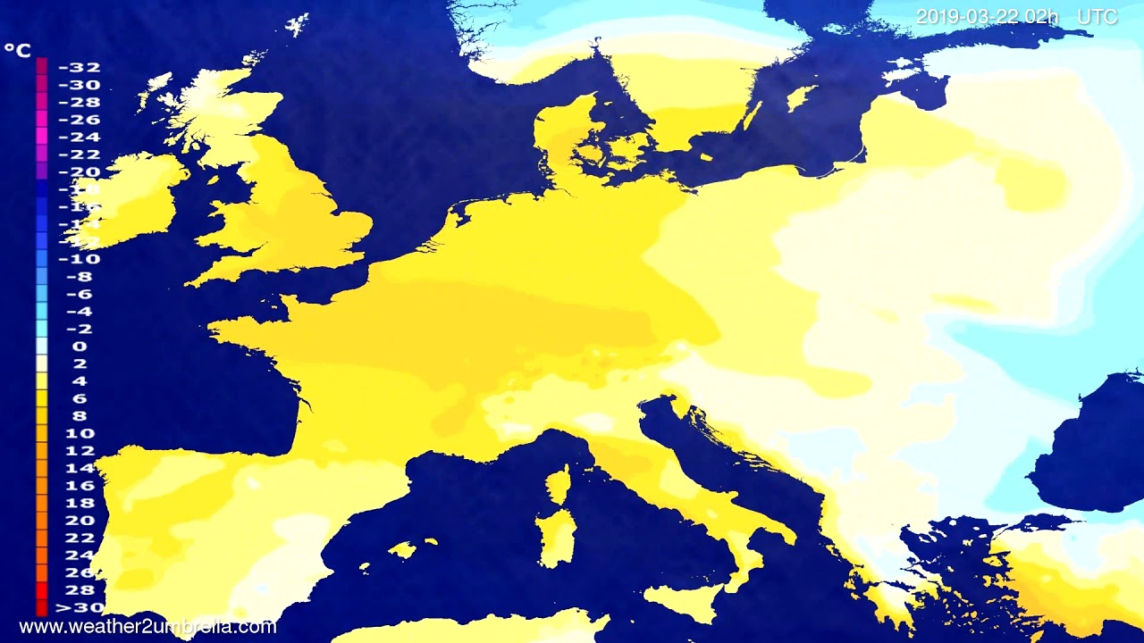 #Weather_Forecast// Temperature forecast Europe 2019-03-20