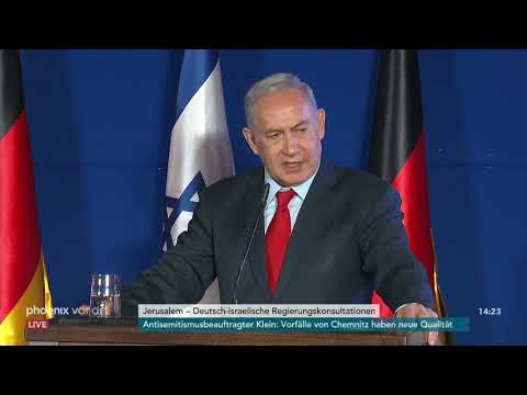 Pressekonferenz von Angela Merkel und Benjamin Netanjahu am 04.10.18