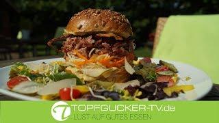 Spreewald - Burger | Eisbeinfleisch | Senfsauce | Weißkrautsalat | Pulled Pork Burger | Rezeptempfehlung Topfgucker-TV