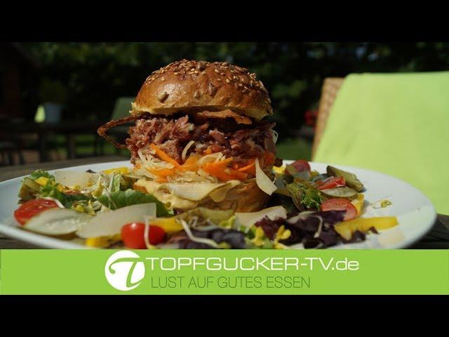 Spreewald - Burger   Eisbeinfleisch   Senfsauce   Weißkrautsalat   Pulled Pork Burger   Rezeptempfehlung Topfgucker-TV
