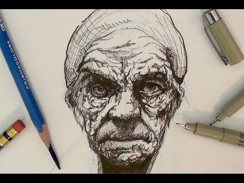 Pen And Ink Drawing Tutorials | Portrait Drawing Demonstration I