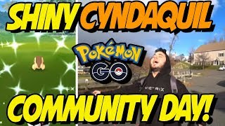 MY SHINY CYNDAQUIL COMMUNITY DAY REACTIONS! Pokemon GO Cyndaquil Community Day! by aDrive