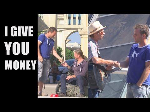 Remi Gaillard giving random people 500 EUR