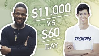 Earning $11,000 vs. $60 in a Day