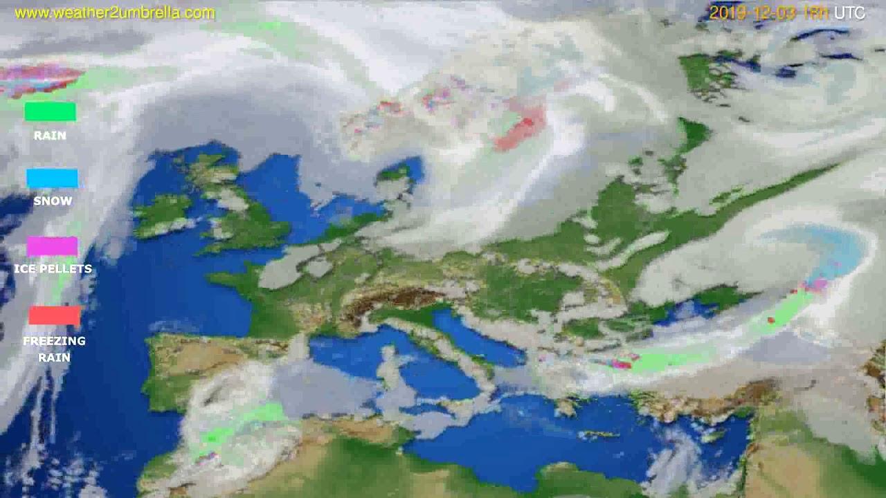 Precipitation forecast Europe // modelrun: 12h UTC 2019-12-01