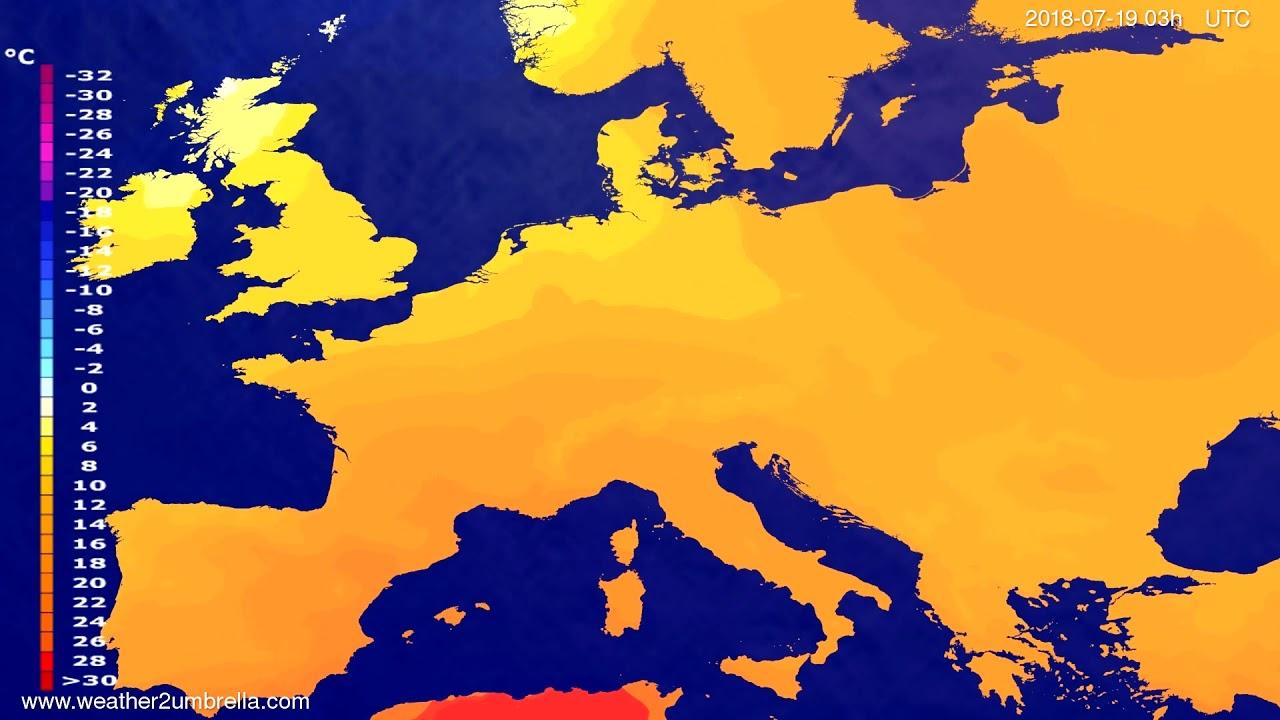 Temperature forecast Europe 2018-07-16
