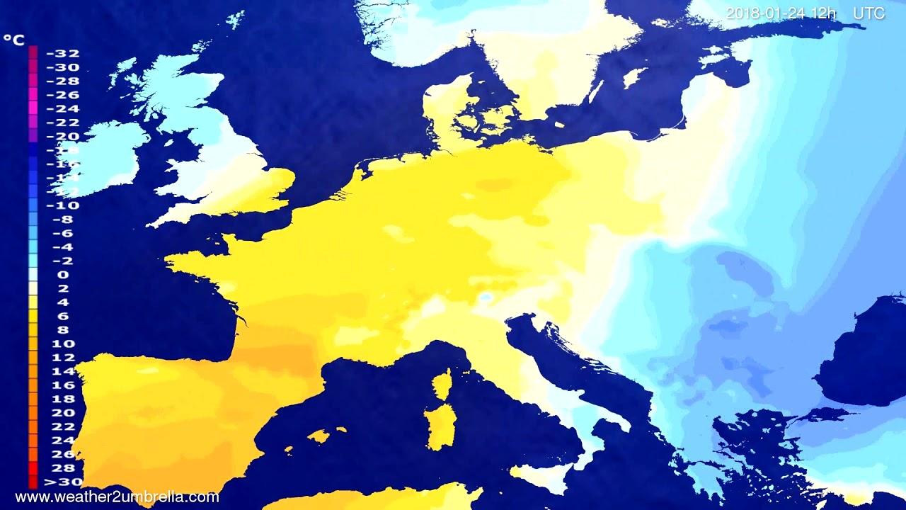 Temperature forecast Europe 2018-01-22
