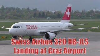 Swiss LX 1512 Zurich Airport - Graz Airport 12.04.2017 Departure: 18.05 Arrival: 19.15 Landing Graz Airport  GRZ  LOWG Runway 35C, 3000m x 45m Asphalt Airb...