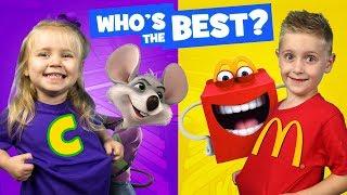 Video Chuck E Cheese vs McDonald's KIDS React Battle & Family Fun Review by KIDCITY MP3, 3GP, MP4, WEBM, AVI, FLV Maret 2018
