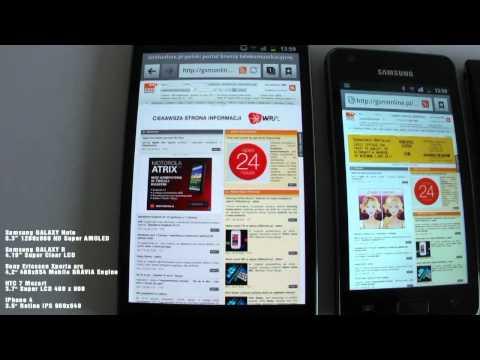 Porównanie wyświetlaczy: Samsung GALAXY, Note Samsung GALAXY R, Sony Ericsson Xperia arc, HTC 7 Mozart, iPhone 4
