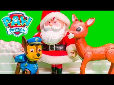 PAW PATROL Nickelodeon Santa Clause + Elf on the Shelf Paw Patrol Christmas Toys Video Parody (видео)