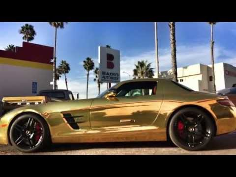 Gold Chrome Mercedes Benz SLS AMG with CUSTOM Red Reflective Brake Calipers by SD WRAP