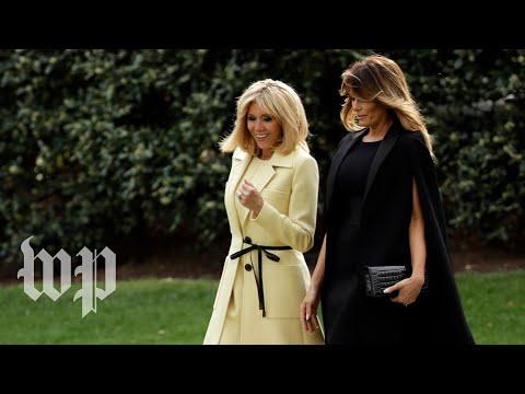 Melania Trump and Brigitte Macron tour museum