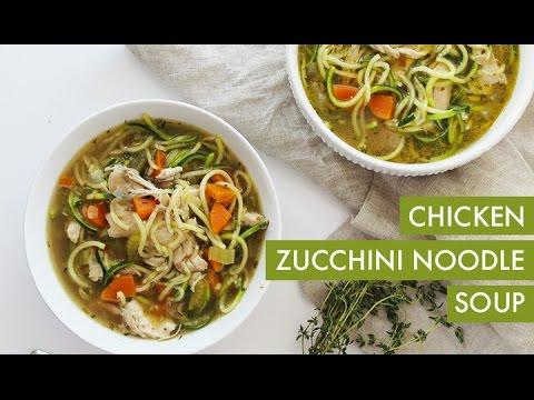 Chicken Zucchini Noodle Soup I Gluten Free Spiralizer Recipe