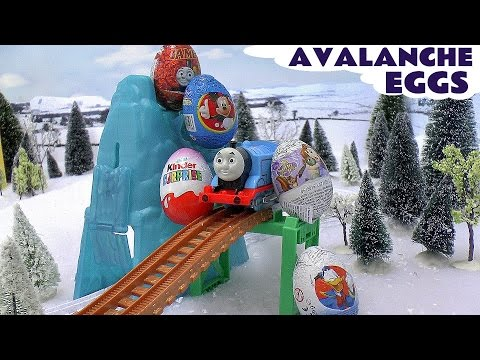 thomas - Mickey Mouse and Peppa Pig receive Surprise Eggs from Thomas who collects the eggs from the avalanche. The surprise eggs are 1 Thomas and Friends Surprise Eg...