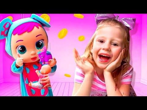 Nastya fait semblant de jouer avec papa et organise la vente de jouets