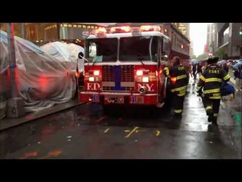 fdny - HERE YOU WILL SEE A RATHER HEFTY RESPONSE BY THE FDNY TO HELP RESCUE A MAN WHO SOMEHOW FELL ONTO THE CANOPY OF THE LYCEUM THEATER AT 149 WEST 45TH STREET IN ...