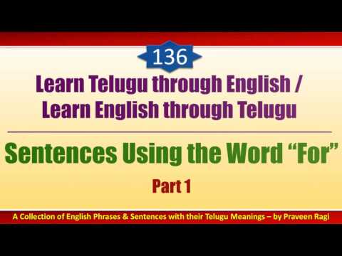 "136-1- Spoken Telugu (intermediate Level) Learning Videos - Sentences Using The Word ""for"" - Part 1"