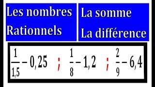 Maths 3ème - Les nombres rationnels Addition et Soustraction Exercice 15