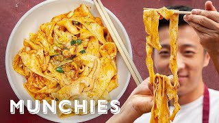 How To Make Hand Ripped Noodles with Xi'an Famous Foods by Munchies