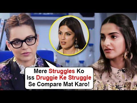Kangana Ranaut SLAMS Sonam Kapoor | Gives FITTING REPLY To Bollywood Stars Supporting Rhea