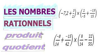 Maths 4ème - Les nombres rationnels Produit et Quotient Exercice 21