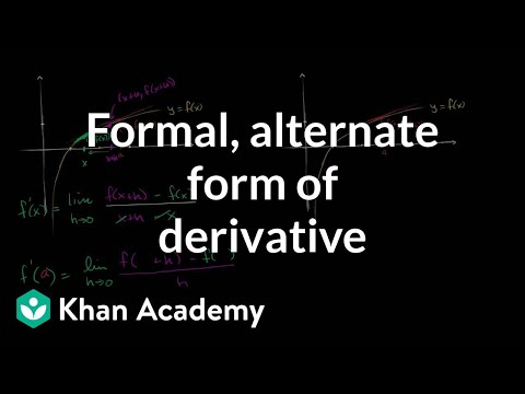 Formal And Alternate Form Of The Derivative Video Khan