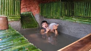 Build Fish Pond in Underground Bamboo House To Raise Fish On The Cliff